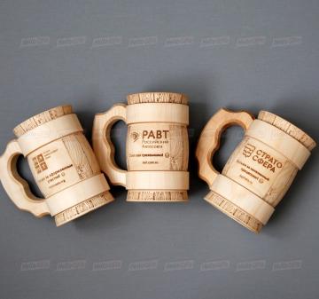 Деревянная кружка для пива с гравировкой логотипа