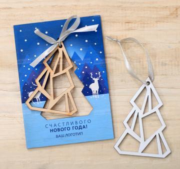 Новогодняя открытка из дерева с новогодней  ёлочной игрушкой - Размер открытки 10,5х15см, толщина 0,3см  Минимальный тираж – 30 шт. Срок изготовления от 5 дней.