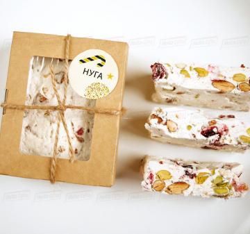 Новогодние  сладкие подарки Нуга ручной работы (фисташки, миндаль, клюква) 150 г
