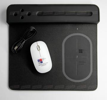 Беспроводная мышь, нанесение логотипа уф-печать. Настольный органайзер с зарядным устройством, нанесение логотипа гравировка.